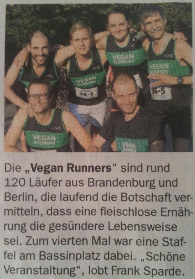 Die Potsdamer Neueste Nachrichten berichten in ihrer gedruckten Ausgabe über die Vegan Runners und ihre Teilnahme an der Potsdamer Citynight Halbmarathon-Staffel.