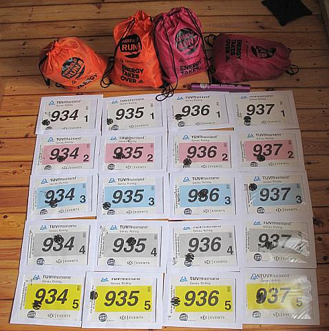 Startnummern und Zeitmess-Chips der Vegan Runners